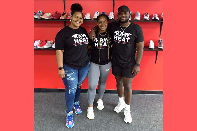 Coleman sisters in front of their shoes