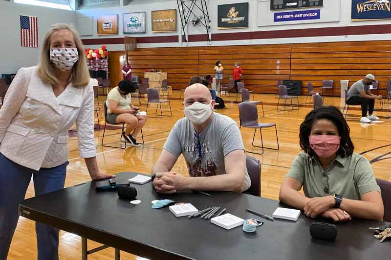 Staff at the Vaccine Clinic held on campus