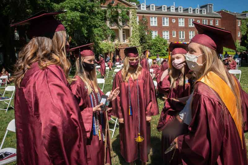 Students celebrating after graduation