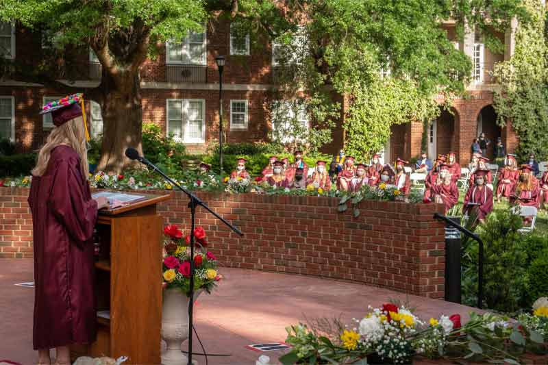 Class president delivering speech at graduation
