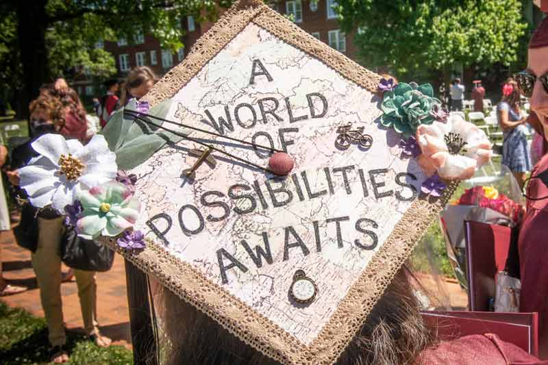 """grad cap that says """"A world of possibilities awaits"""""""