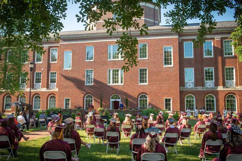Graduation behind Johnson Hall