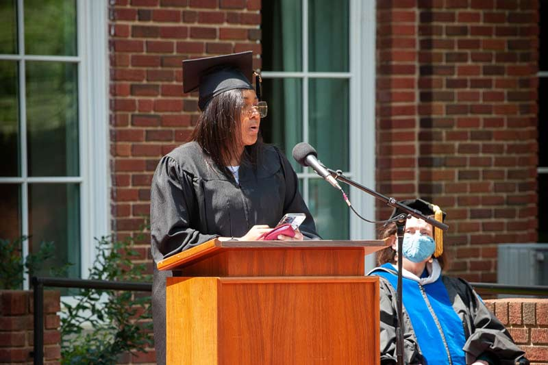 Speaker at hooding ceremonies 2021